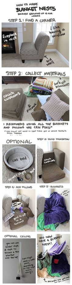 how to build a blanket nest looks like a great idea - Go Pro - Ideas of Go Pro for sales. - how to build a blanket nest looks like a great idea Things To Do At A Sleepover, Fun Sleepover Ideas, Sleepover Activities, Sleepover Fort, Sleepover Crafts, Simple Life Hacks, Useful Life Hacks, Cool Stuff, Stuff To Do