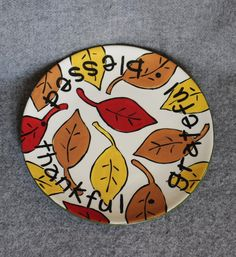 Fall leaves plate Thankful Blessed Grateful by juliefjell on Etsy Pottery Painting, Ceramic Painting, Stone Painting, Rock Painting, Painted Pottery, Autumn Painting, Autumn Art, Red Leaves, Fall Leaves