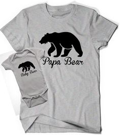 Set of Two Papa Bear Baby Bear T Shirt Tee fathers day Infant New Baby Toddler Child Kid Gift New Dad Baby Shower Daddy Pop Father Reveal