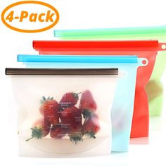 Reusable Silicone Food Storage Bag Airtight Seal (set of 2 or Storage Containers, Food Storage, Bag Storage, Baby Snacks, Lifehacks, Pre Cooked Meals, Slider Bar, Cooking Utensils Set, Routine