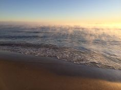 Mist rising off the water at Papamoa Beach, New Zealand, while taking an early morning run. Photo by Kellie Rillstone. #whim_adventurous