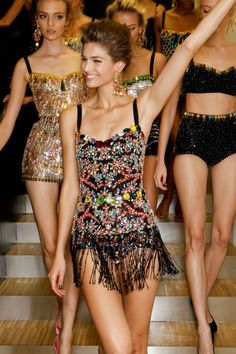 """Looks like something I would """"under"""" wear :-). If only it were acceptable in real life to walk down the street wearing a Dolce & Gabbana embellished bodysuit Look Fashion, Runway Fashion, High Fashion, Fashion Beauty, Fashion Show, Womens Fashion, Fashion Design, Fashion Trends, Milan Fashion"""