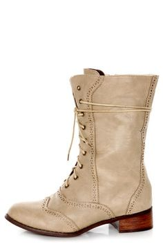 this would bring your outfit to a new level! #lulusholiday combat boots nude suede pleather faux wooden heels tap shoes