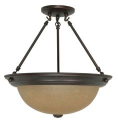 """Nuvo Lighting 60/1261 3 Light 15.3"""" Wide Semi-Flush Ceiling Fixture with Champag Mahogany Bronze Indoor Lighting Ceiling Fixtures Semi-Flush"""