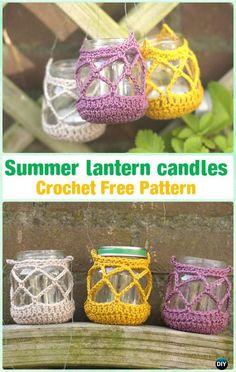 Crochet Summer lantern candles by Lisette Eisenga