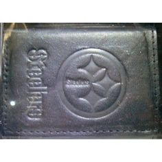 Pittsburgh Steelers Black Leather Tri-Fold Wallet by Rico. $14.99. Large Bill Holder. Vinyl Insert for Pictures. Credit Card Pockets. Officially Licensed. 100% Leather. This Tri-Fold Leather Wallet is meticulously crafted with your favorite team's logo embossed on the front.  It has a large bill compartment and pockets for I.D., credit card, etc.  Also includes a vinyl insert for pictures.  Makes a great gift!!