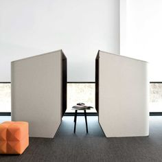 "For a private meeting where you need to visually cut off distractions as well as lessen noise, we suggest setting up a collaborate face-to-face acoustic seating arrangement. This gives you the perks of a conference room and can also provide a nice ""stimulation"" break from a busy open room."