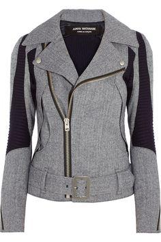 Junya Watanabe Herringbone Wool-Blend Biker Jacket, $1,710; net-a-porter.com
