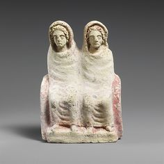 Terracotta votive statuette of two draped females. Etruscan, Classical Period, 4th-3rd century B.C.