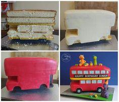 Construction of a double decker bus cake