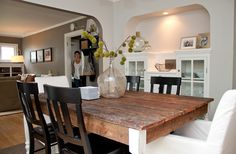 Upholstered chairs at table. See article. She uses craigslist, found items... Kirsten  Kyle's Restored Bungalow