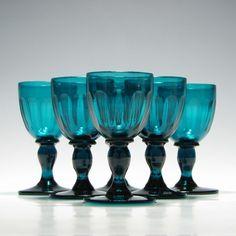 Six Georgian Peacock Blue Wine Glasses c1830