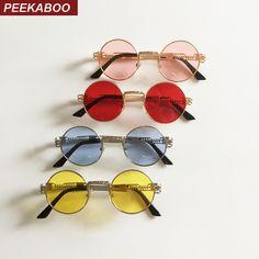 89e89a1a2e7e53 Peekaboo New silver gold metal mirror small round sunglasses men brand  vintage round sun glasses women