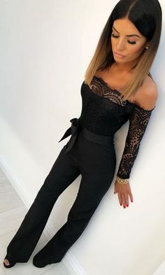 Black jumpsuit outfit night - Coming For You Black Lace Long Sleeve Off The Shoulder Straight Leg Jumpsuit – Black jumpsuit outfit night Black Jumpsuit Outfit Night, Night Out Outfit, Night Outfits, Classy Outfits, Casual Outfits, All Black Outfit For Party, Black Outfits, Black Lace Jumpsuit, Black One Piece Jumpsuit