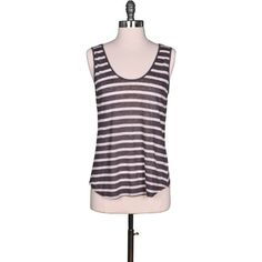 Velvet by Graham and Spencer Caddy Striped Tank Top ($54) ❤ liked on Polyvore featuring tops, grey, stretch tank top, velvet tank, scoop neck tank top, striped tank top et summer tops