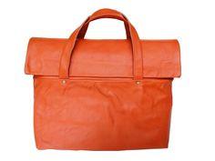 orange leather briefcase by Nastya Klerovski