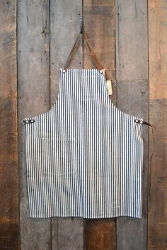 Stanley & Sons Standard Apron with Leather Straps Hickory Stripe