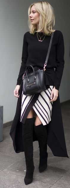 Striped Wrap Skirt Outfit Idea