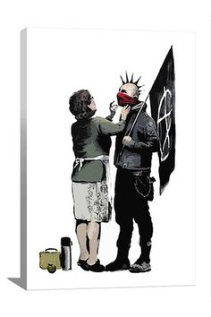 Street Art: Anarchist And Mother 12in x 18in Canvas Print