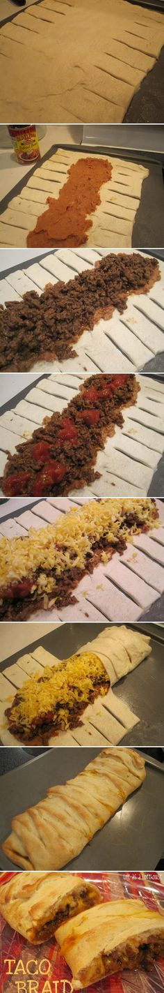 Ever heard of a braid? Here's a taco braid with step-by-step instructions. Quick and easy using Pillsbury Pizza Dough Mexican Dishes, Mexican Food Recipes, Beef Recipes, Cooking Recipes, Recipies, I Love Food, Good Food, Yummy Food, Beef Dishes