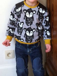 Leather sweater - La Maison Victor - Paapii Design Sewing For Kids, Boy Outfits, Christmas Sweaters, Graphic Sweatshirt, Couture, Sweatshirts, Blouse, Clothes, Creativity