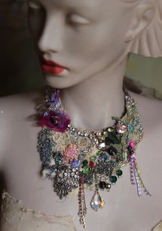 Vintage bouquet necklace II bold delicate shabby by FleursBoheme
