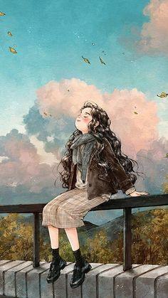More ar illustration in 2019 sarra art, art, anime art girl. Art And Illustration, Girl Cartoon, Cartoon Art, Cartoon Drawings, Cute Drawings, Art Watercolor, Cute Paintings, Forest Girl, Jolie Photo