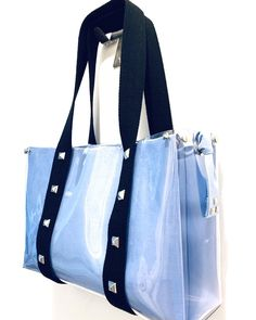 """Giulia Leoni on Instagram: """"Black strap bag with blue liner and twilly"""" Blue Liner, Clear Tote Bags, Gym Bag, Instagram, Black, Products, Fashion, Moda, Black People"""