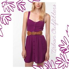 UO Staring at Stars Purple Dress Staring At Stars crossback button down dress. Adorable lightweight silky soft material! Button down front and criss cross straps in back :) Barely worn! *Belt not included Urban Outfitters Dresses Mini