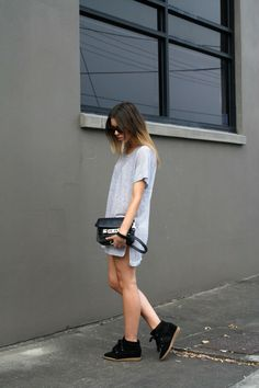 MODERN LEGACY fashion blog Witchery stripe tee dress Proenza Schouler PS11 Mini satchel bag Isabel Marant Boston snake effect sneakers Karen Walker Number One sunglasses Crazy Tort balayage ombre hair outfit post photo by KaityH88 | Photobucket