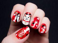 Maneki-Neko (Lucky Cat) Nail Art via @Rhiannon Dunn Dunn Dunn Dunn Reid Nails #LLlucky #nailart