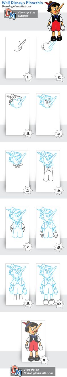 Walt Disney's Pinocchio, easy step-by-step drawing tutorial on DrawingManuals.com