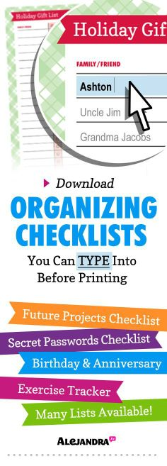 Download Organizing Checklists Here: ... | Home Organizing Ideas