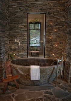 Natural Stone Bathtub Ideas for Your Bathroom is part of Rustic bathroom designs Ceramic tiles are offered in a wide range of colors They are a popular choice when it comes to bathroom flooring - Rustic Bathroom Designs, Rustic Bathrooms, Dream Bathrooms, Beautiful Bathrooms, Modern Bathrooms, Log Cabin Bathrooms, Rustic Bathtubs, Guest Bathrooms, Small Bathrooms