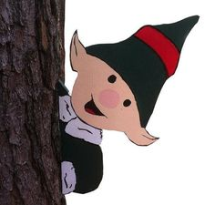 Elf in a Tree Wooden Christmas Yard Decoration by FunkyOldPatina, $25.00