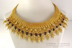 ilias Lalaounis Style Greek Hellenistic Period Amphora & Tassel 22k Gold Ruby #necklace