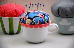 DIY: hand-painted teacup pincushions