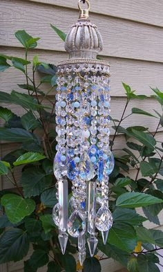Jeweled Shabby Blue Sky Antique Crystal Wind Chime