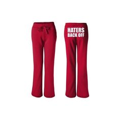 Haters Back Off Women's Sweatpants ($25) ❤ liked on Polyvore featuring activewear, activewear pants, haters back off, miranda sings, pants, sweat pants, red sweat pants, red sweatpants, cotton sweatpants and cotton sweat pants