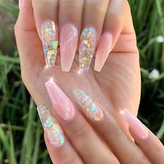 Nail Design Glitter, Cute Acrylic Nail Designs, Fancy Nails Designs, Clear Nails With Glitter, Clear Nail Designs, Long Nail Designs, Glitter Nail Art, Clear Nails With Design, Acrylic Nails With Design