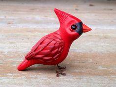 Cardinal: Handmade miniature polymer clay animal by AnimalitoClay