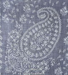 19th century handkerchief detail. Fine embroidery on delicate cotton. India