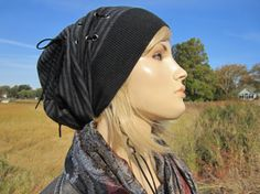 78aa4dd34cd25 Bohemian Clothing Women s Slouch Tams Striped Slouchy Beanies Black Gray  Stripe Wool Knit Hat Leather Corset Lace Tie A1144