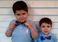 Adorable in their LA baggs & stuff Dragon Master and Spiderman bow ties. Facebook.com/labaggsandstuff