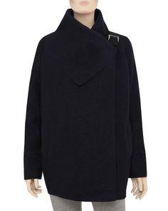 Casaco de lã fervida em azul-escuro0