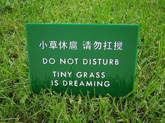 Aw. Don't walk on the grass... 'cause it's sleeping.    http://www.etsy.com/listing/87306195/funny-chinglish-sign-tiny-grass-is