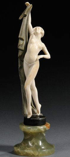An Art Deco bronze and ivory figure by J Ulrich, Austria ca. 1930