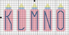 Free Baby Bottle Alphabet - Free Baby-Themed Cross Stitch Pattern: Free Baby Bottle Alphabet Cross Stitch Pattern - Letters K to O