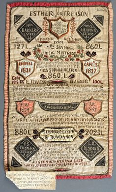 """West Riding Pauper Lunatic Asylum Embroidery"" -- a sampler in the collection of the Hull Museum (UK),  1837-1900, Not Currently on display. Higher-res photo available from museum. The headline reads ""ESTHER, or TREASON."" an artistic and carefully made object of mystery."