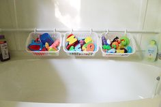 Organize ~ bath toys. Tension rod, curtain rings and baskets.   [did this - kids like to pick & choose from each basket :)  ]